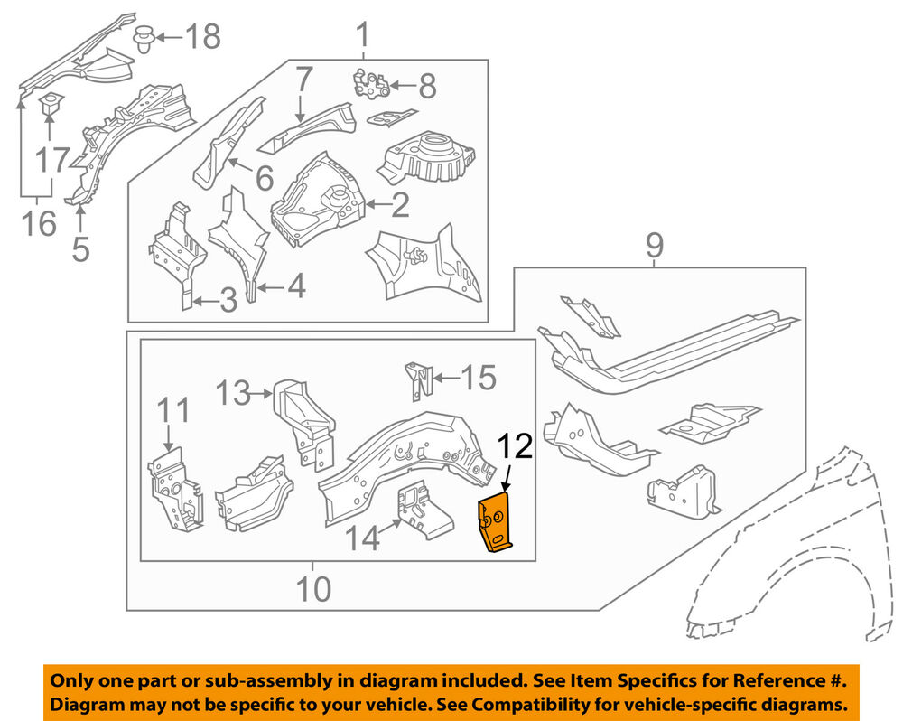 medium resolution of details about gm oem fender closure panel right 22911867