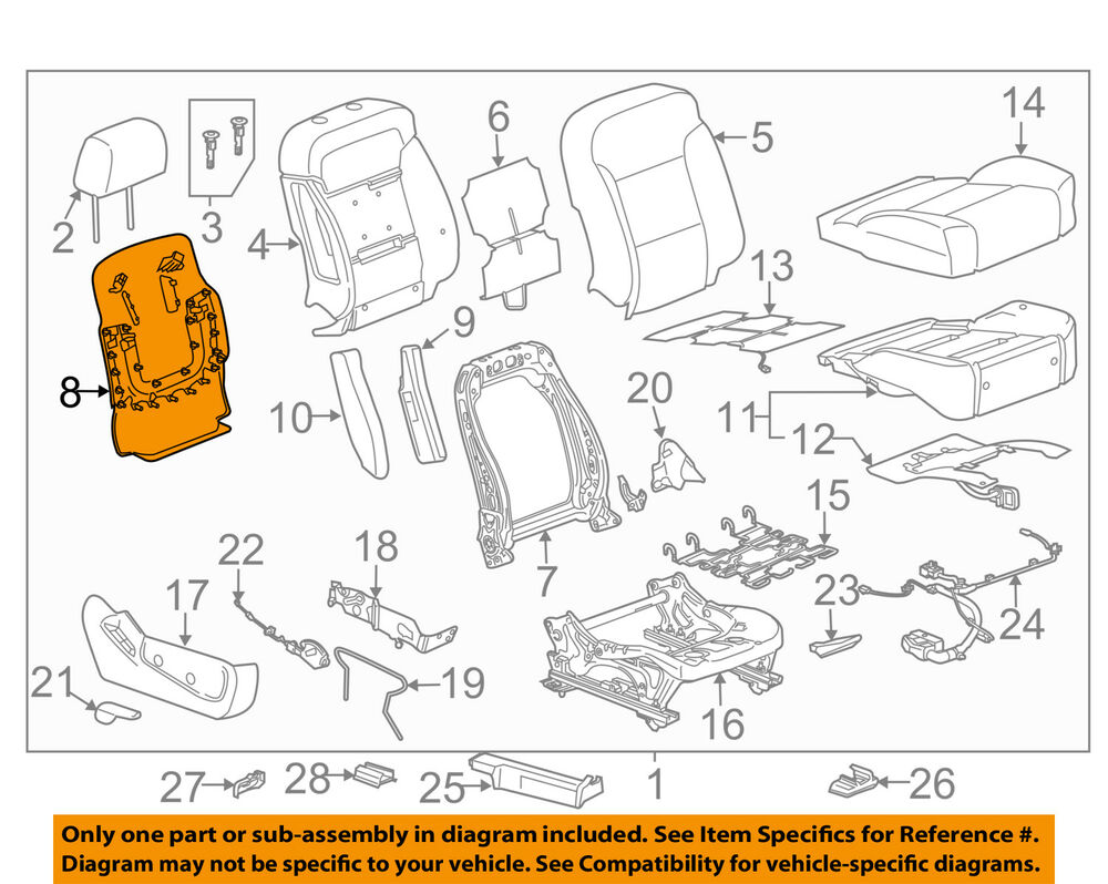 hight resolution of details about gm oem driver seat seat back panel 23365181