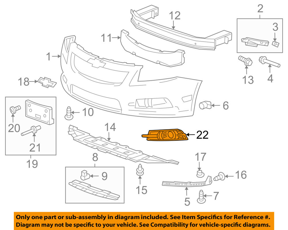 hight resolution of details about chevrolet gm oem 11 14 cruze front bumper grille trim cover left 95980706