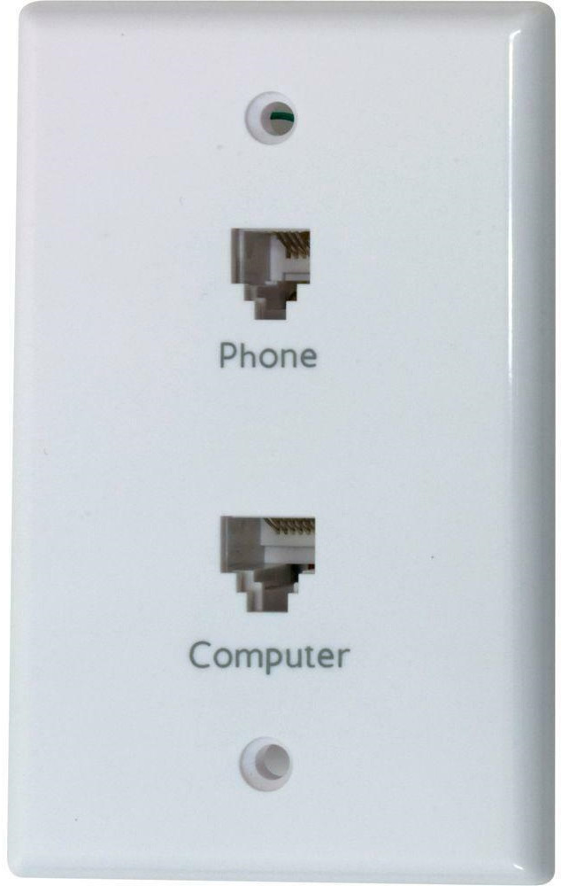 hight resolution of network phone wall face plate double modular jack computer rj45 telephone rj11 30878206594 ebay