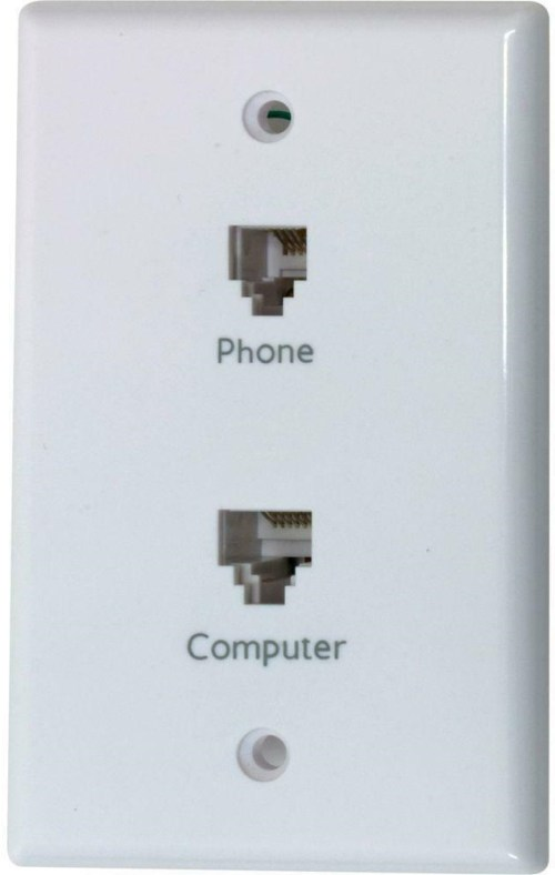 small resolution of network phone wall face plate double modular jack computer rj45 telephone rj11 30878206594 ebay