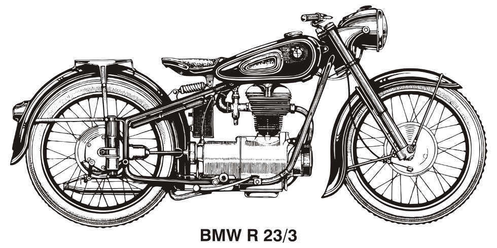 BMW R23/3 VINTAGE MOTORCYCLE ART GRAPHIC DRAWING POSTER