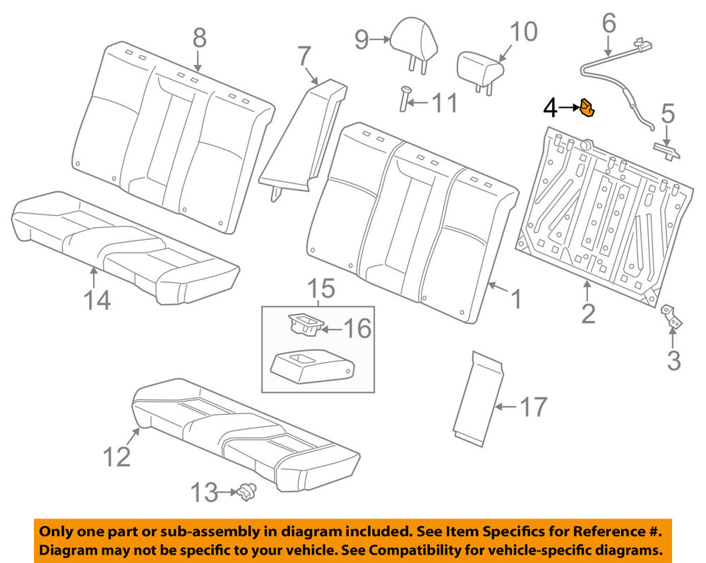 hight resolution of details about honda oem 13 17 accord rear seat seat belt guide 82128t2fa01zc