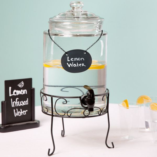 1.75 Gallon Glass Beverage Dispenser With Metal Stand And