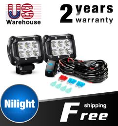 details about nilight 2pcs 18w 4 in led light bar spot led fog lights wiring harness kit [ 1000 x 1000 Pixel ]