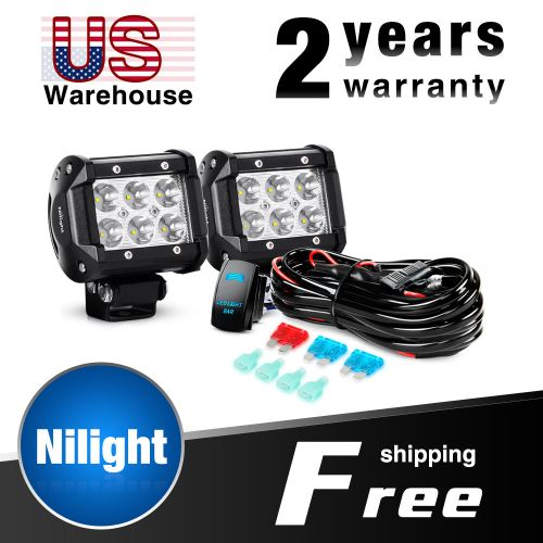 small resolution of details about nilight 2pcs 18w 4 in led light bar spot led fog lights wiring harness kit