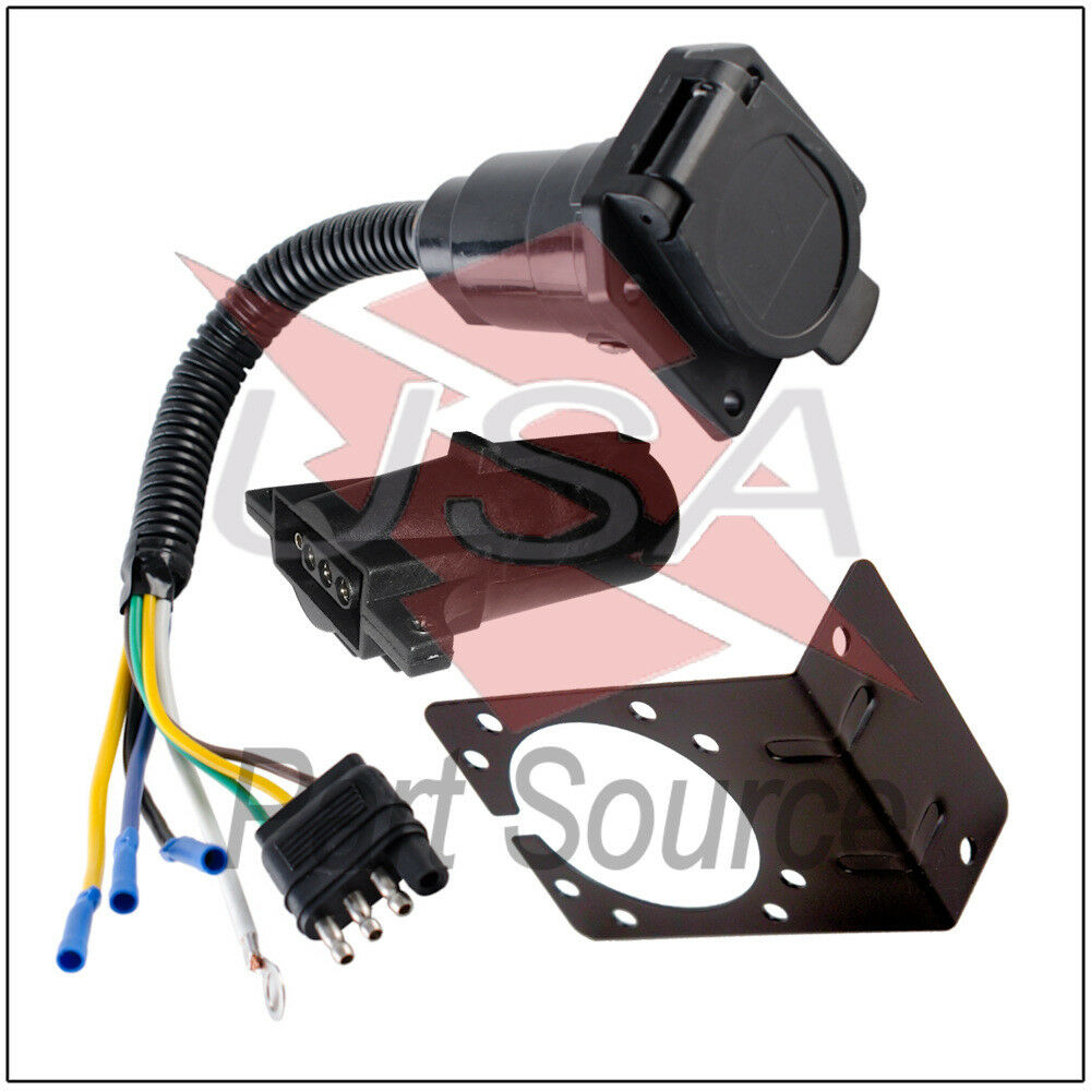 medium resolution of details about 4 wire flat to 7 way adapter rv trailer wire harness with bracket and adapter