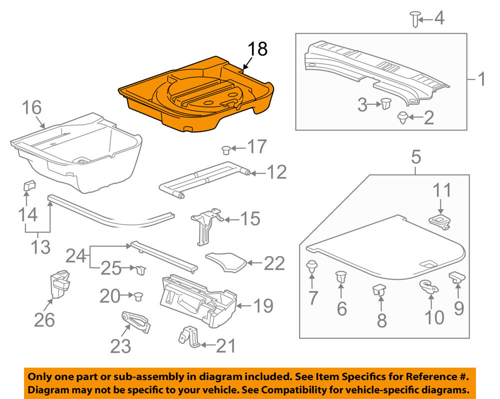 hight resolution of details about cadillac gm oem 10 16 srx interior rear spare cover 22819384