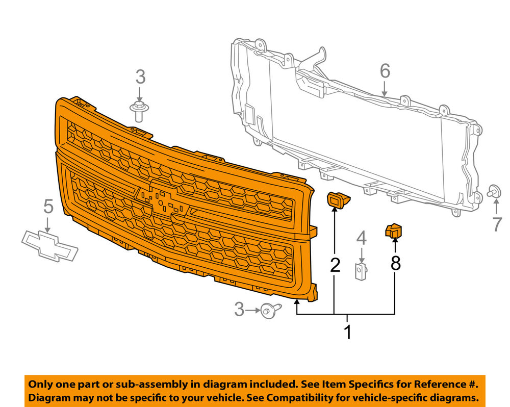 hight resolution of details about 2014 2015 chevy silverado 15000 black work truck grille new gm 23259625