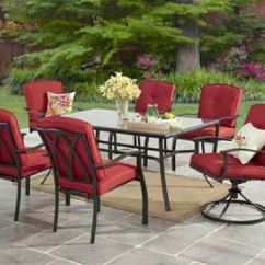 Table With Swivel Chairs Best Affordable Office Chair 2018 7pc Dining Set Red Cushions Glass Top Garden Details About Patio Furniture
