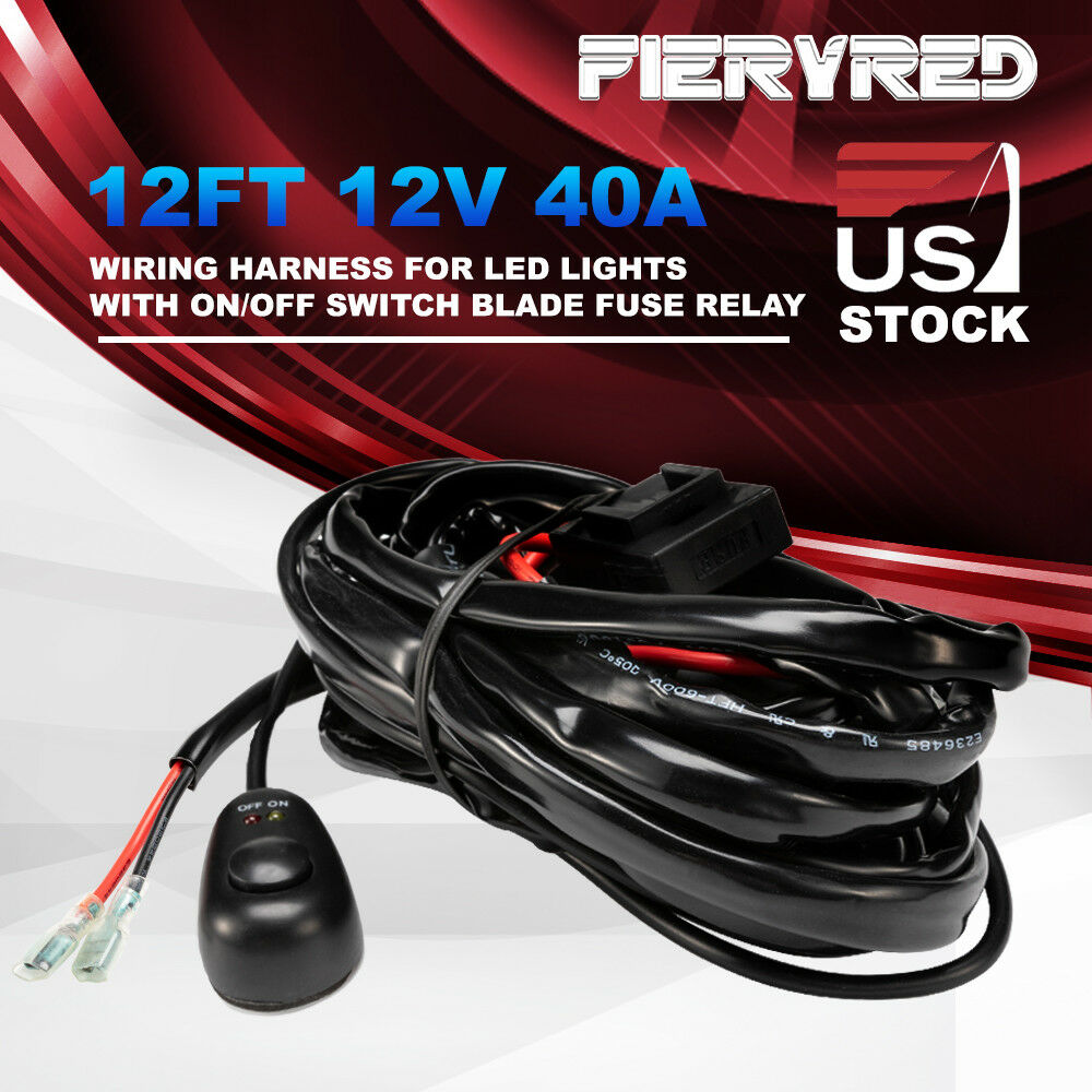 hight resolution of wiring harness switch 12v 40a relay kit fuse for led work driving light bar 4wd