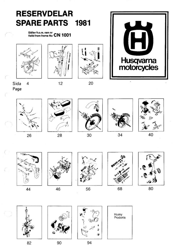 Husqvarna Parts Manual Book 1981 WR 430, CR 430, WR/E 430