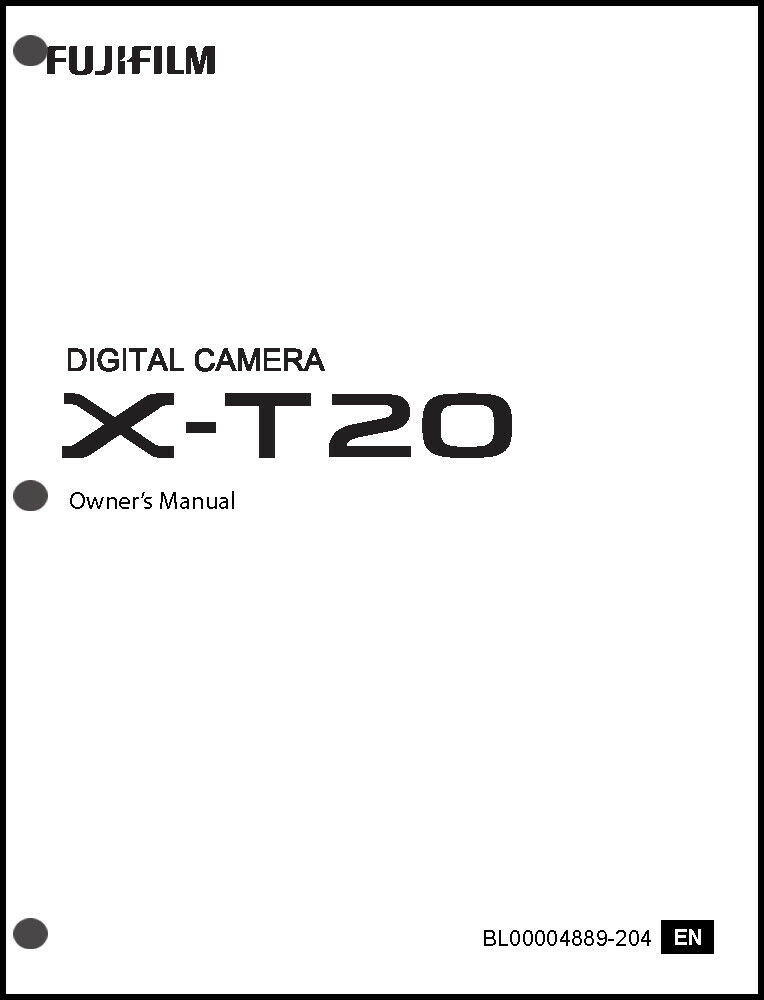 FujiFilm FinePix X-T20 Digital Camera Owner's Manual User