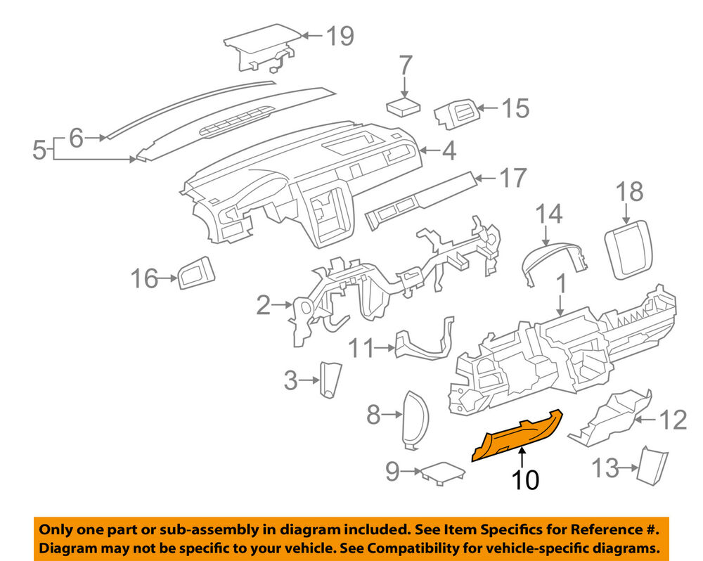 hight resolution of details about gm oem instrument panel dash knee bolster 15856687