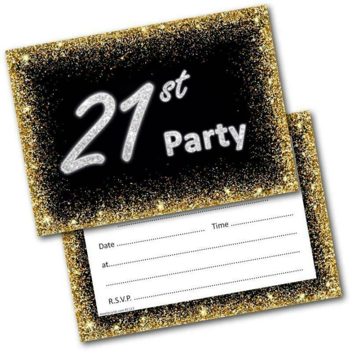 21st Birthday Party Invitations Age 21 Male Mens Female Womens Pack 20 Invites 5060370634453