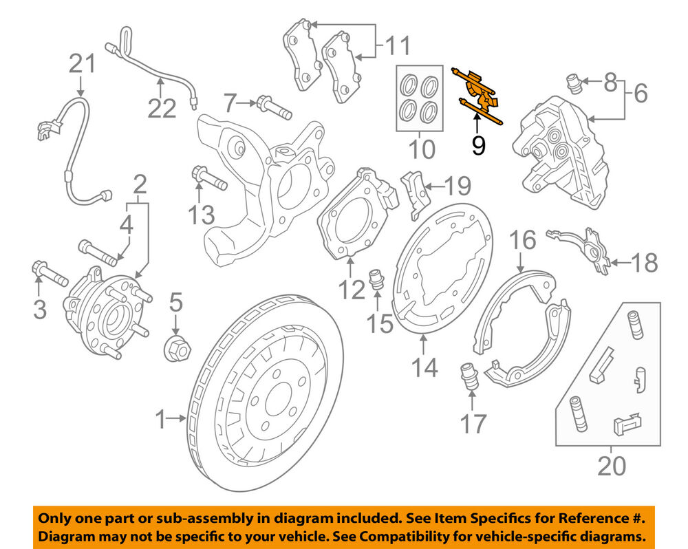 medium resolution of details about ford oem 15 18 mustang brake rear caliper retainer kit fr3z2068e