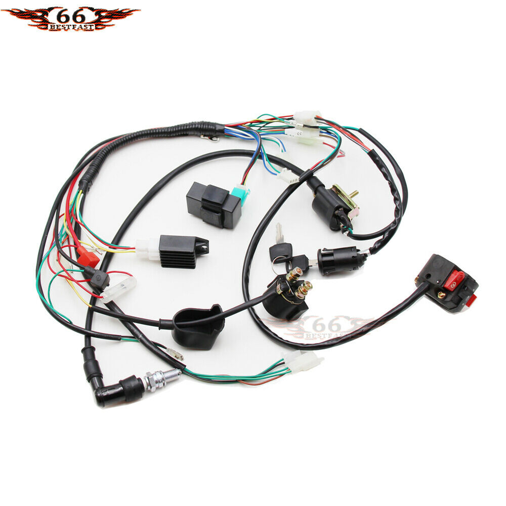hight resolution of details about full electrics wiring harness coil cdi 50 70 110cc atv quad bike buggy go kart