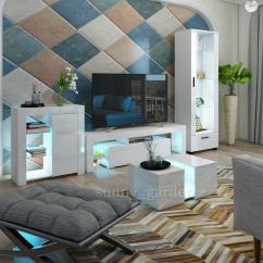 White Gloss Living Room Furniture Patio In Modern Matt Tv Unit Display Details About Cabinet Led Lights