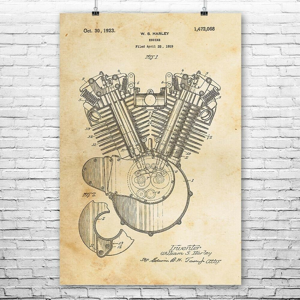 hight resolution of details about harley davidson motorcycle engine poster print motorcycle gift vintage harley