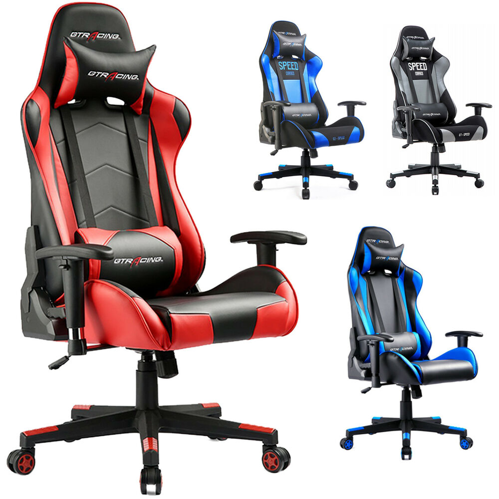 Office Chair Posture Gtracing Executive Racing Chair Gaming Chair Ergonomic Pu Leather Office Desk Ebay