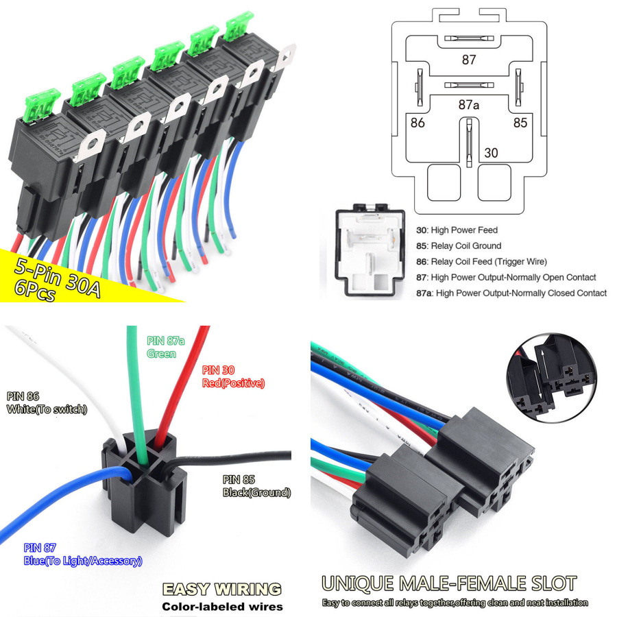 medium resolution of details about 6 pack car 5 pin relay harness 14 awg wires w 30a ato atc blade fuse waterproof