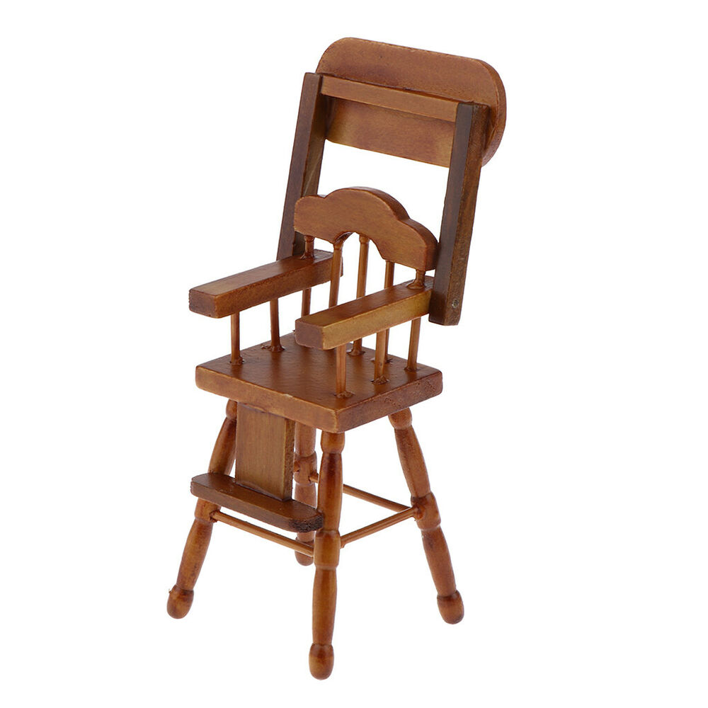 Wooden Baby High Chair 1 12 Dollhouse Wooden Furniture Baby High Chair W Moving Tray Wood Color Ebay