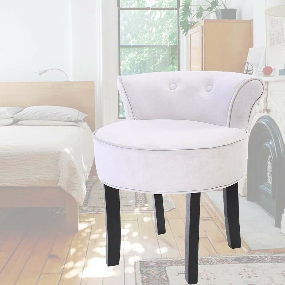 Makeup Table Chair Grey Velvet Padded Seat Vanity Dressing Table Stool Chair With Backers Bedroom 741870362040 Ebay