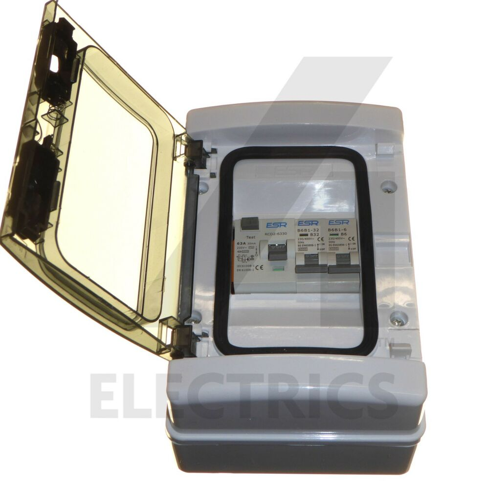 hight resolution of details about consumer unit 2 way garage unit fuse box 63 amp rcd trip 6a 32a mcb 63a ip65