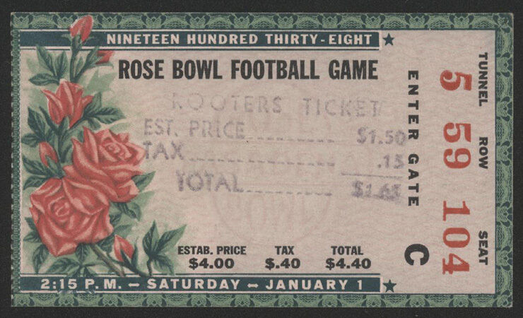 1938 Cal Vs Alabama ROSE BOWL Football Ticket Stub EBay