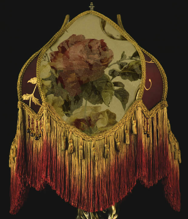 Vintage Victorian Lamp shade Fringed Beaded ROSES! WOW