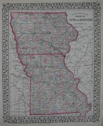 Original Antique 1874 Mitchell County Map IOWA MISSOURI