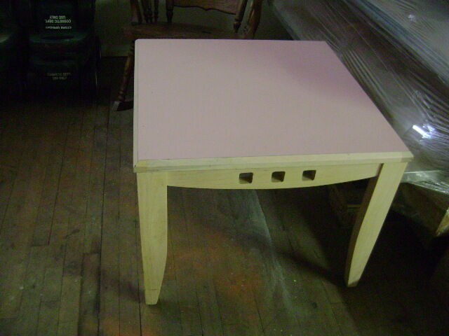 """PINK END TABLE 27"""" SQUARE BLONDE WOOD TONE COLOR W"""