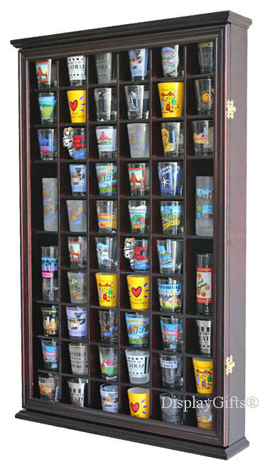 Wall Shadow Box Cabinet Rack to hold 56 shot glasses