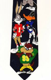 Tie, Looney Tunes Characters In Football Uniforms Taz Bugs ...