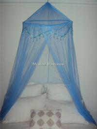 Baby Blue Beaded Mosquito Net Bed Canopy