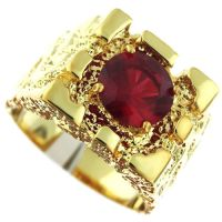 Rampart Ruby Red Stone 18Kt Gold EP Mens Nugget Ring | eBay