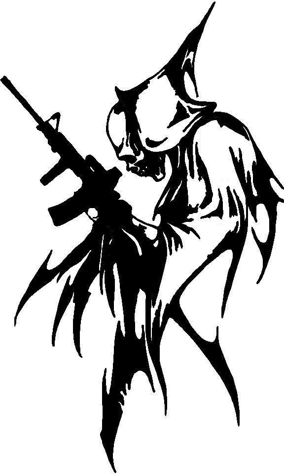 Grim Reaper w/Gun Zombie Hunting M16/AR15 2nd Amendment