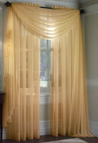 1 PC SOLID GOLD SCARF VALANCE SOFT VOILE SHEER WINDOW ...