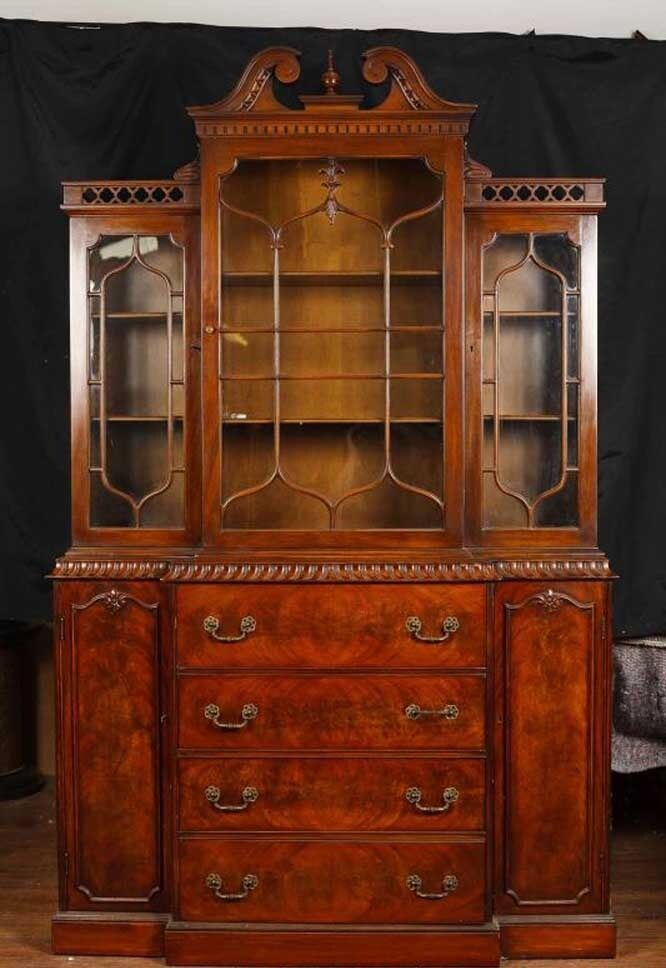 Victorian Gothic Breakfront Bookcase Mahogany Bookcases Chippendale  eBay