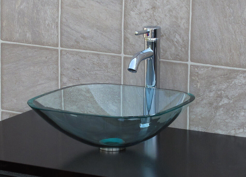 Bathroom Glass Vessel Sink Clear Square + Chrome Faucet