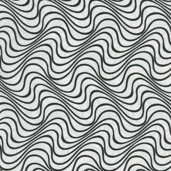 WAVY BLACK LINES ON WHITE BACKGROUND Cotton Fabric BTY for Quilting Craft Etc  eBay