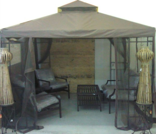 Portland 10x10 10 X Gazebo Replacement Canopy With Netting Screen Two Tier