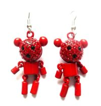 TEDDY BEAR RED CRYSTAL DANGLING EARRINGS GOTHIC EMO PUNK