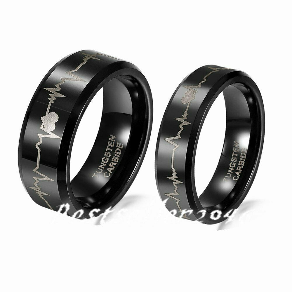 Tungsten Carbide Heartbeat Comfort Fit Ring Wedding Band