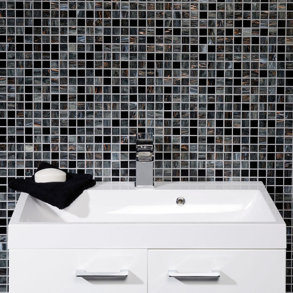Solanas Contemporary Black / Grey Glass Mosaic Bathroom