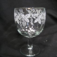Ebay Kitchen Faucet Repair Large Goblet With Frosted Etching Of Grapes And Leaves ...