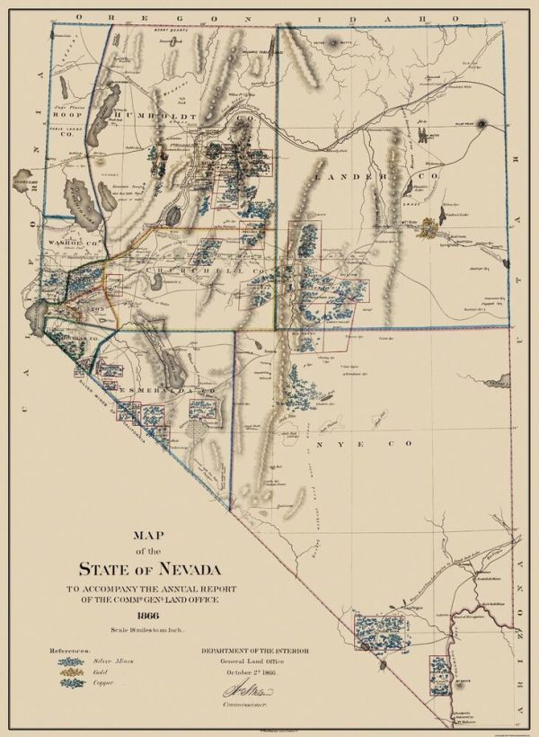 Old Mining Map Gold Silver Copper Mines Nevada 1866