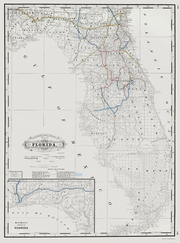 Old Railroad Map Florida State Railway and Counties