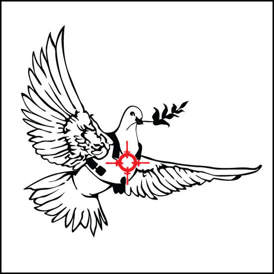 22cm high Banksy peace dove decal sticker vinyl street art