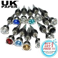 UNISEX STAINLESS STEEL SPIKE EAR STUD EARRINGS FAKE PLUG ...
